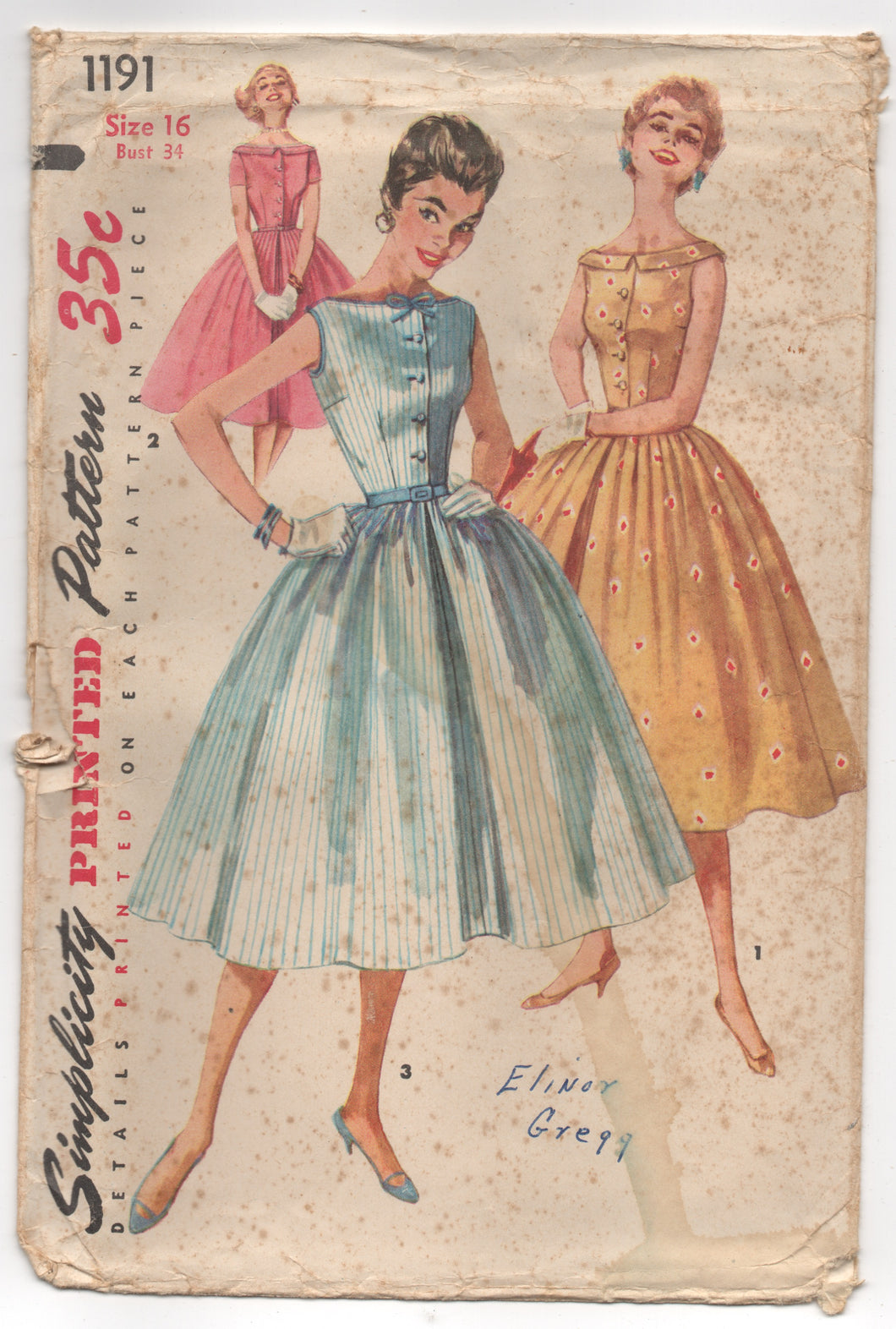 1950's Simplicity One-Piece Dress with Full Skirt with Bateau Neckline and Collar - Bust 34