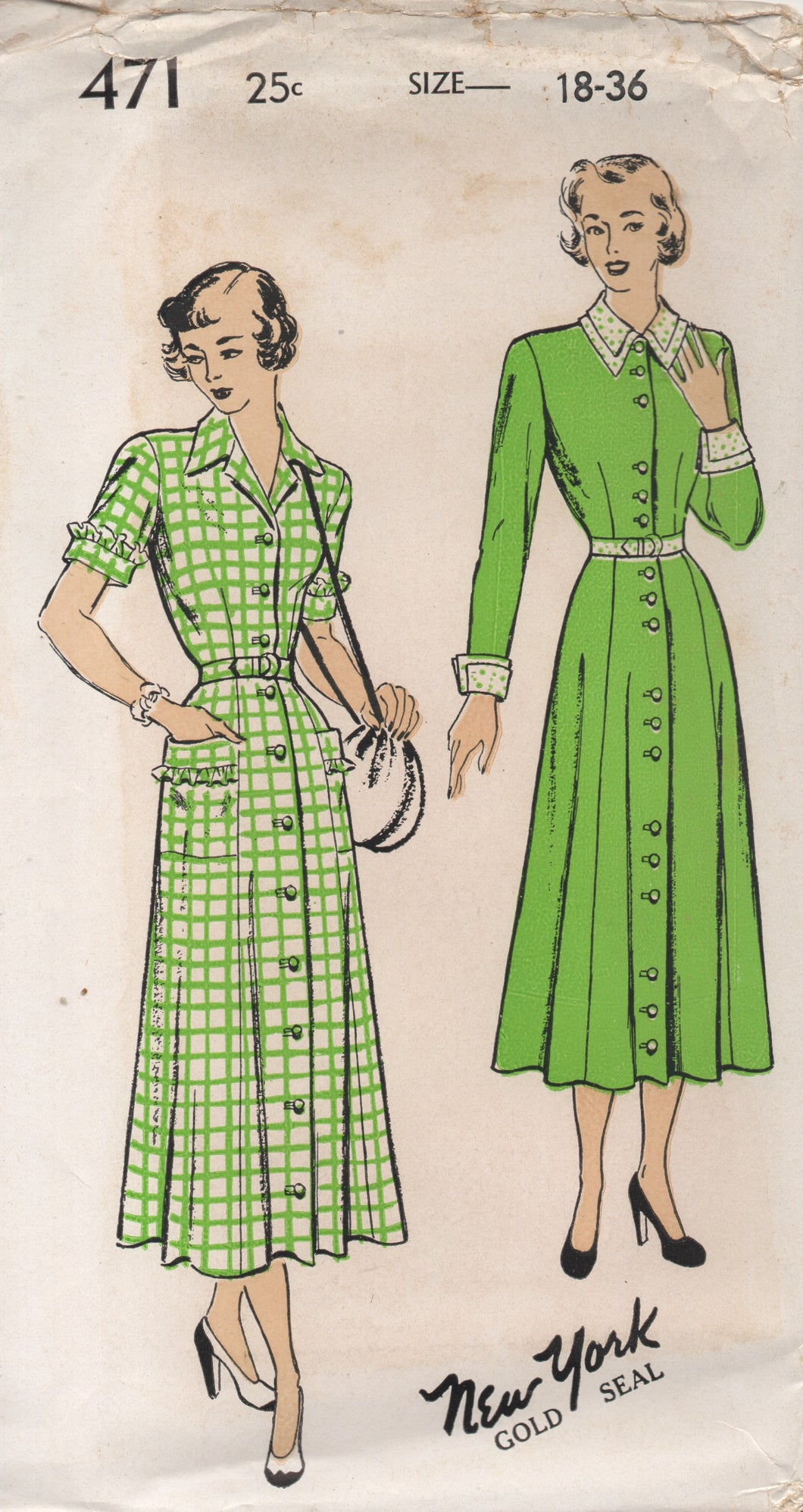 1940's New York One Piece Dress Button up front, Double Collar and Pockets - Bust 36