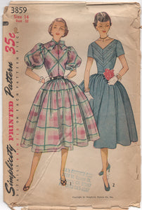 "1950's Simplicity One Piece Dress with Half Button Front and Large Puff Sleeves - Bust 32"" - #3859"