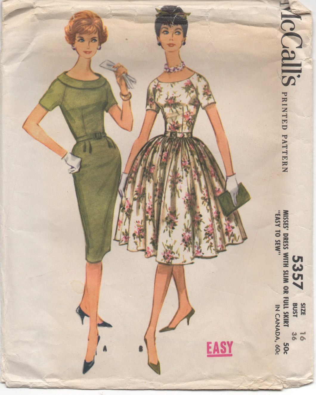 1960 McCall's One Piece Dress with or without Collar and Full or Slim Skirt- Bust 36