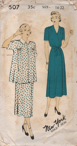 1950's New York One Piece Maternity Wrap Dress and Jacket - Bust 32