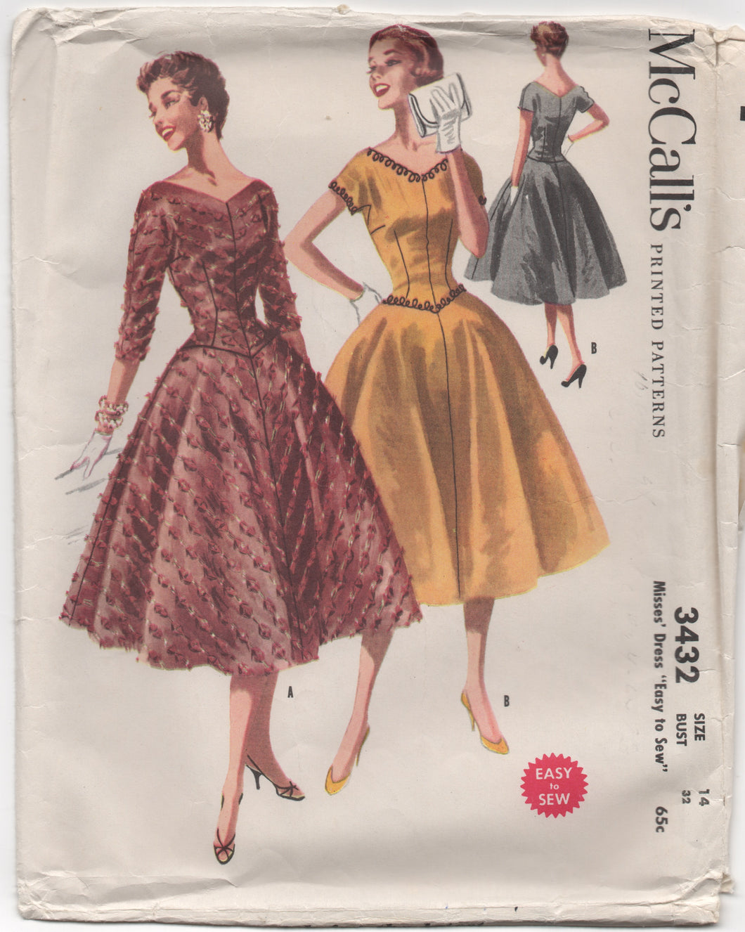 1950's McCall's One Piece Dress with V-neck and Full Skirt- Bust 32
