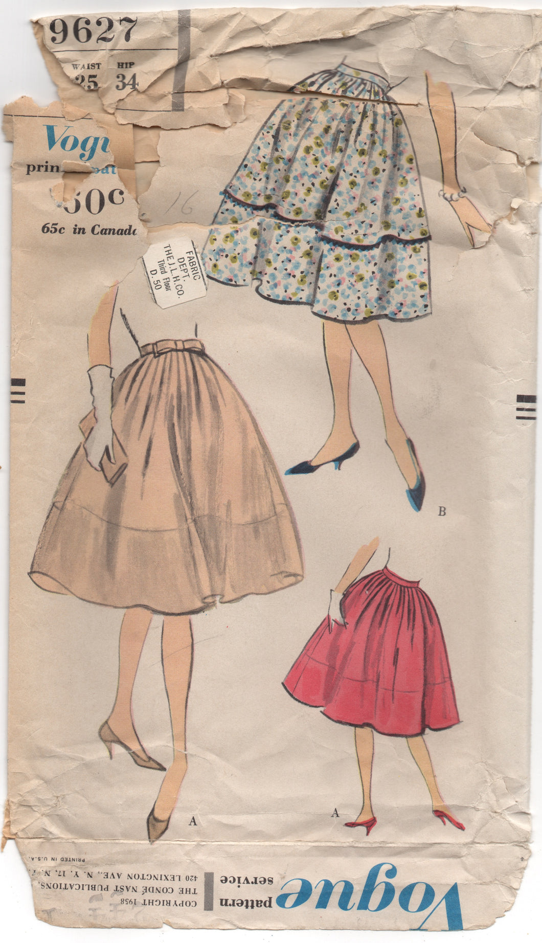 1950's Vogue Gathered and Pleated Full Skirt with Bow - Waist 25