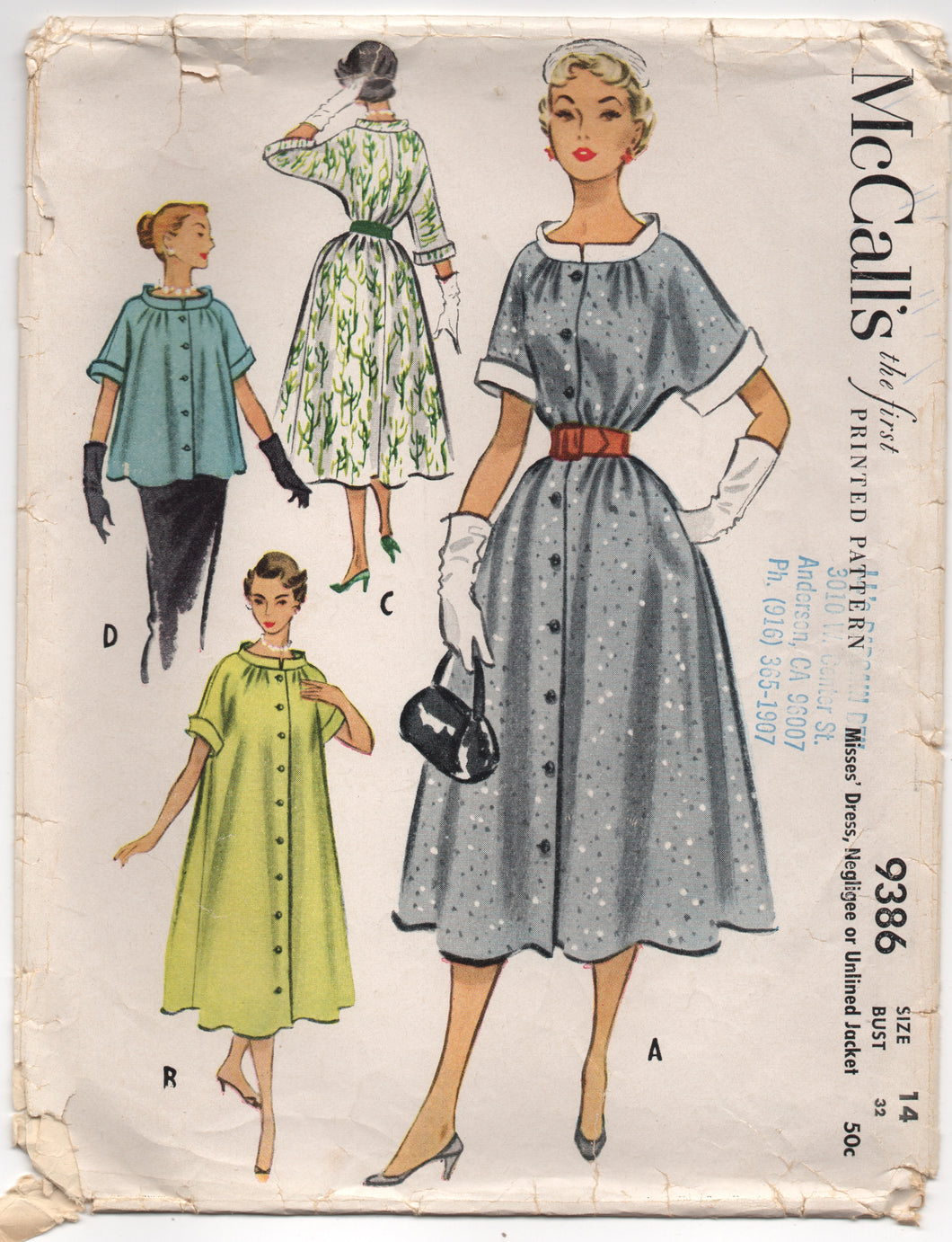 1950's McCall's One Piece Full Belted Dress, Negligee or Jacket - Bust 32
