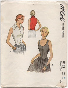 "1950's McCall Blouse or Vest Pattern- Bust 30"" - No. 8132"
