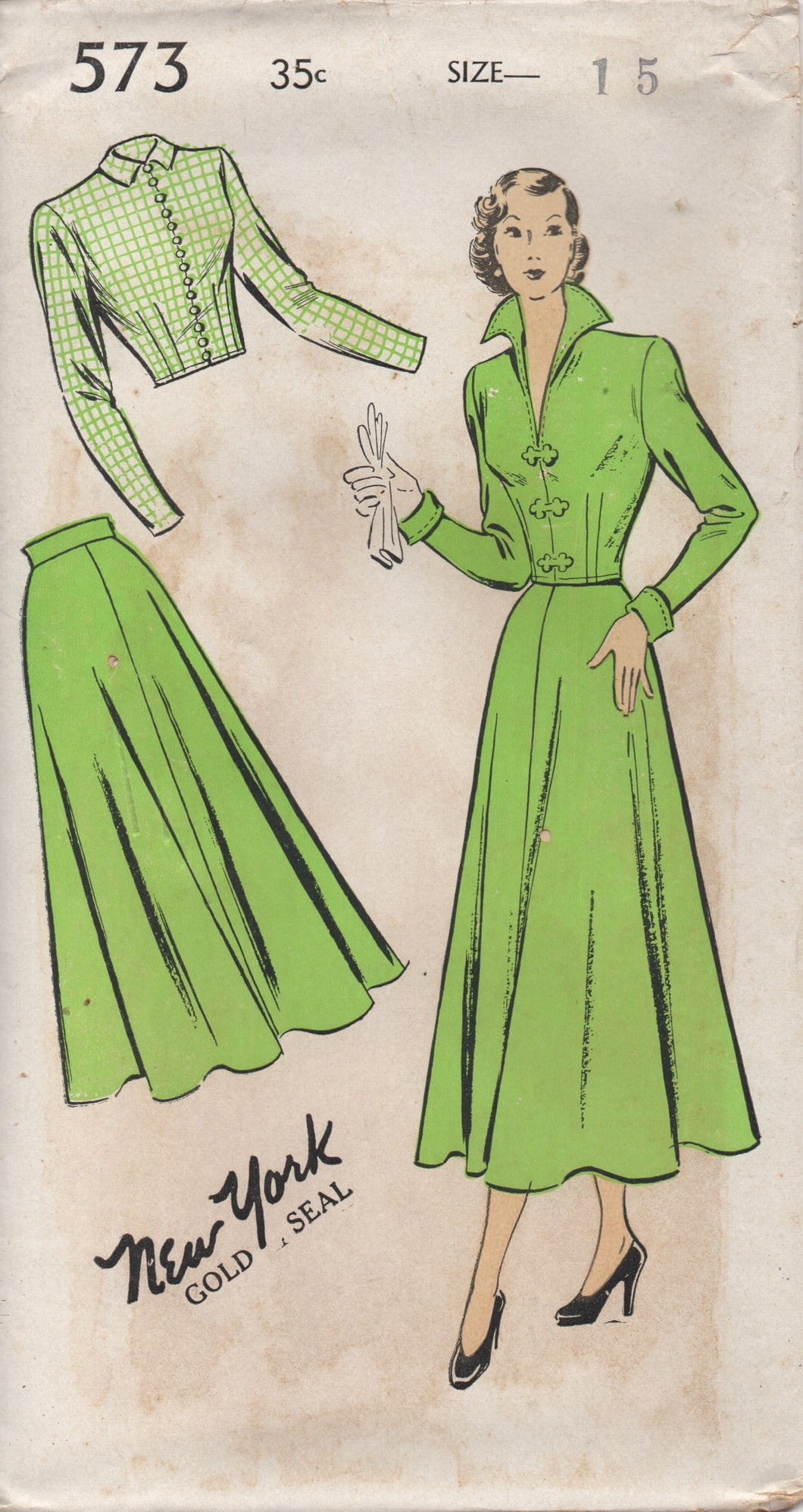 1940's New York Two-Piece Suit with Jacket with Tall Collar and A line Skirt Pattern - Bust 33