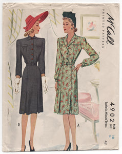 "1940's McCall Shirtwaist Dress with Bow or Standard Collar - Bust 36"" - UC/FF - No. 4902"