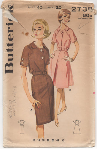 1960's Butterick One Piece Dress with Dolman Sleeves and Flared Skirt - Bust 40
