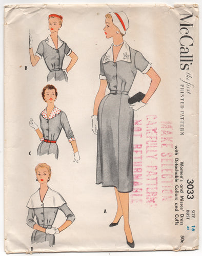 1950's McCall's Day Dress with 4 Collar Option and 3/4 or short sleeves - Bust 34