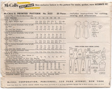 "1950's McCall's Day Dress with 4 Collar Option and 3/4 or short sleeves - Bust 34"" - No. 3033"