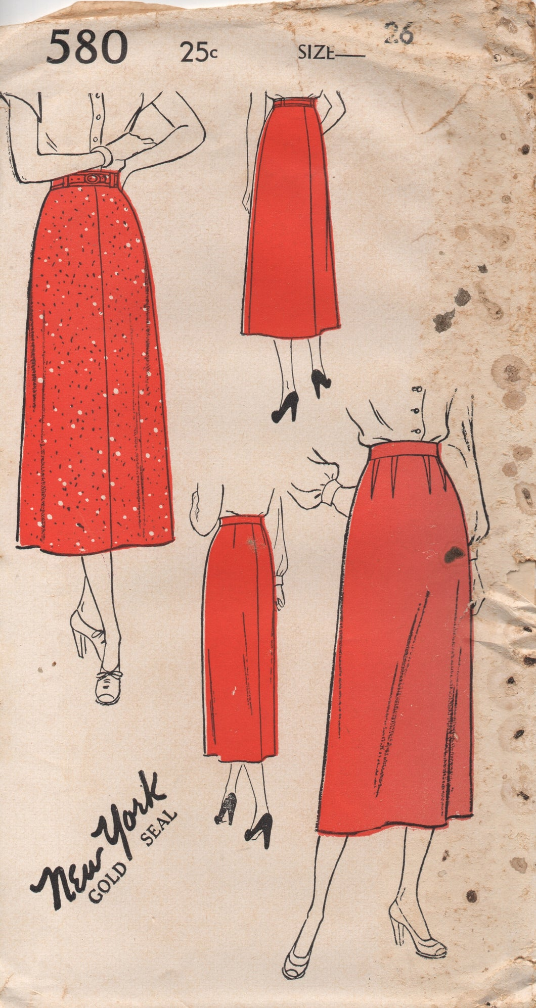 1940's New York Straight Skirt with optional darting - Waist 26