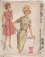 "1960's McCall's One Piece Dress with Side Panel detail and Bow - Bust 34"" - No. 6759"