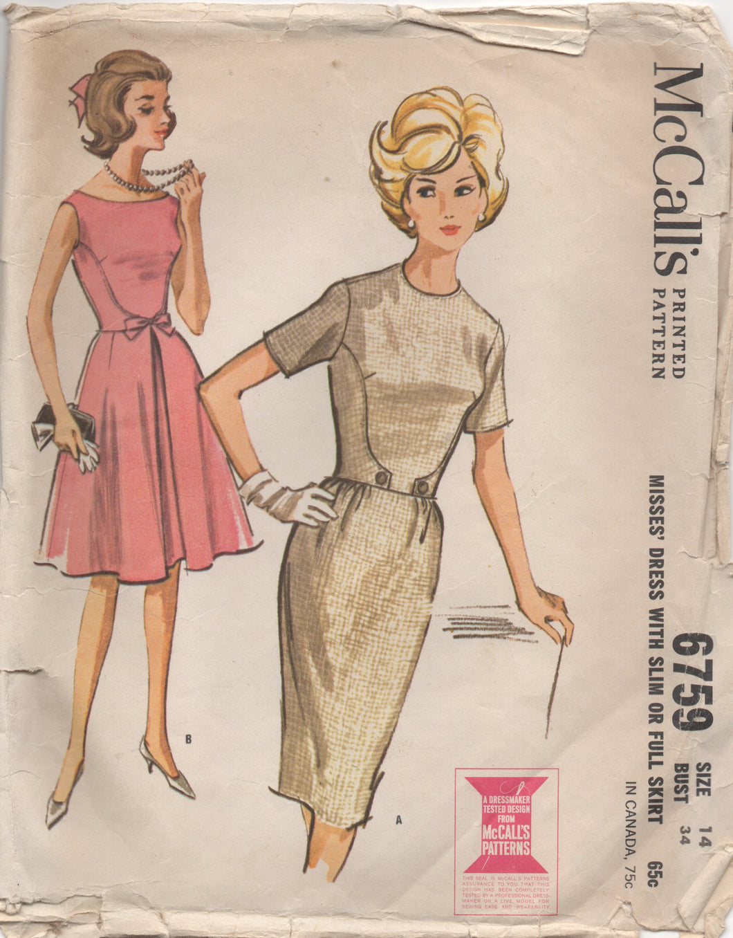 1960's McCall's One Piece Dress with Side Panel detail and Bow - Bust 34