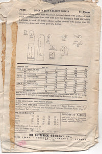 "1950's Butterick One Piece Sheath Dress with Tie Belt - Bust 32"" - No. 7781"