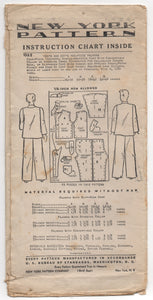 "1930's New York Men's Pajamas with 5 Necklines - Chest 34-36"" - No. 1362"