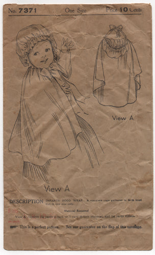 1910's Ladies Home Journal Hooded Wrap for Infants - No. 7371