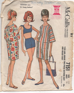 "1960's McCall's Two Piece Bathing suit with Tie shoulder and Beach Coat - Bust 30"" - No. 7151"