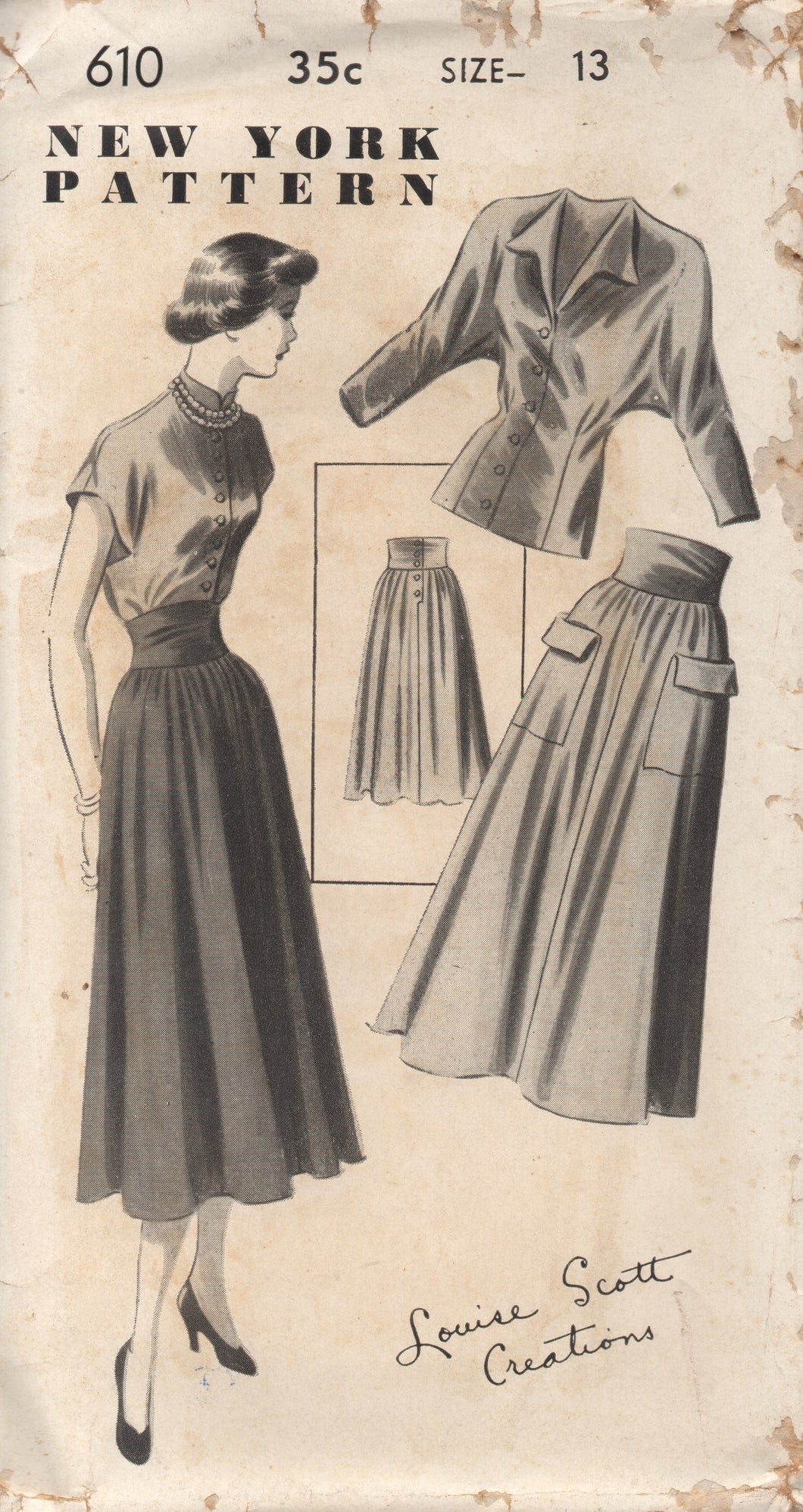 1950's New York by Louise Scott Blouse with Dolman or Cap Sleeves and High Waisted Skirt - Bust 31