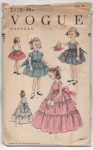 "1950's Vogue Girl's One Piece Tiered Dress and Bolero - Breast 28"" - No. 2715"