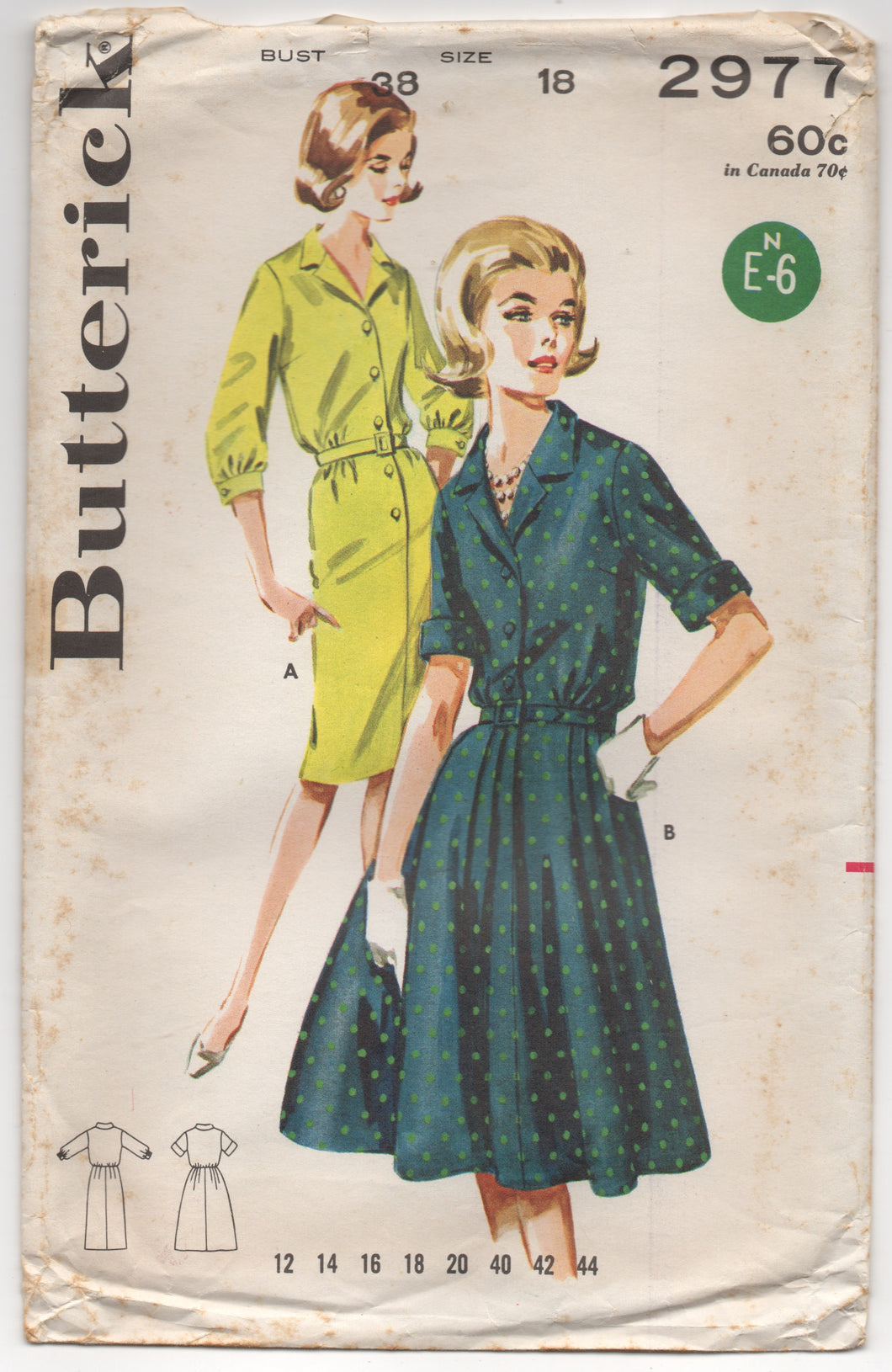 1960's Butterick One Piece shirtwaist Dress with Straight or Flared skirt - Bust 38