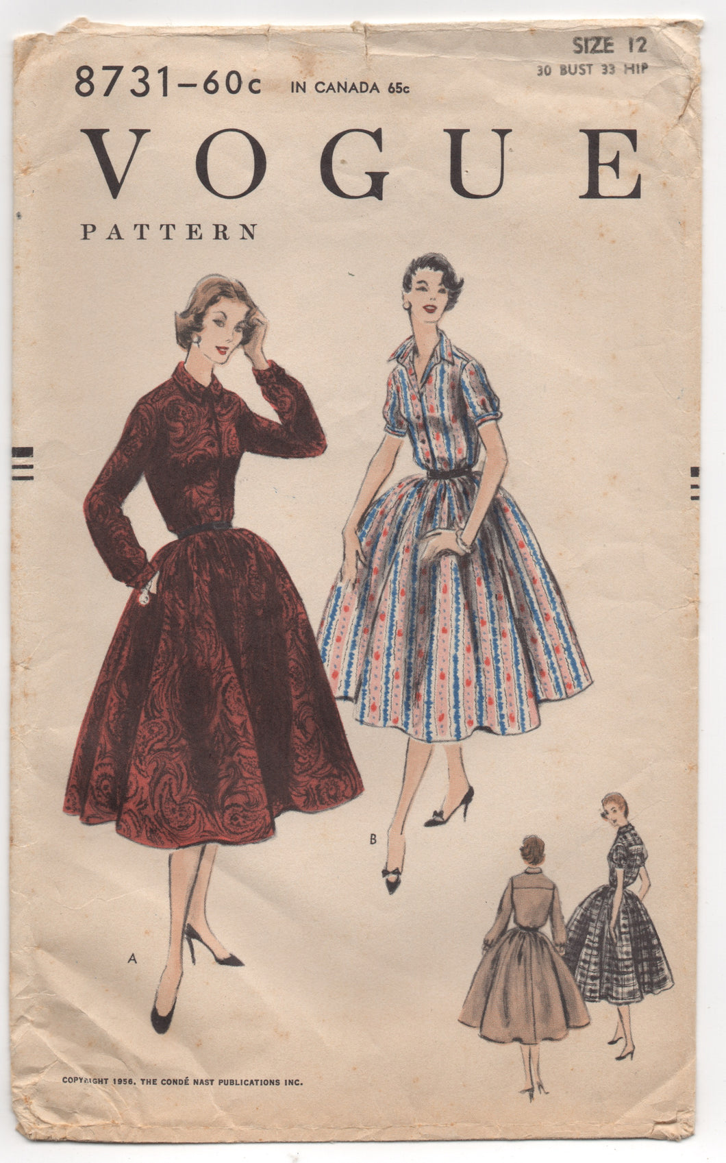 "1950's Vogue One Piece Shirtwaist Dress with Gathered Skirt - Bust 30"" - No. 8731"