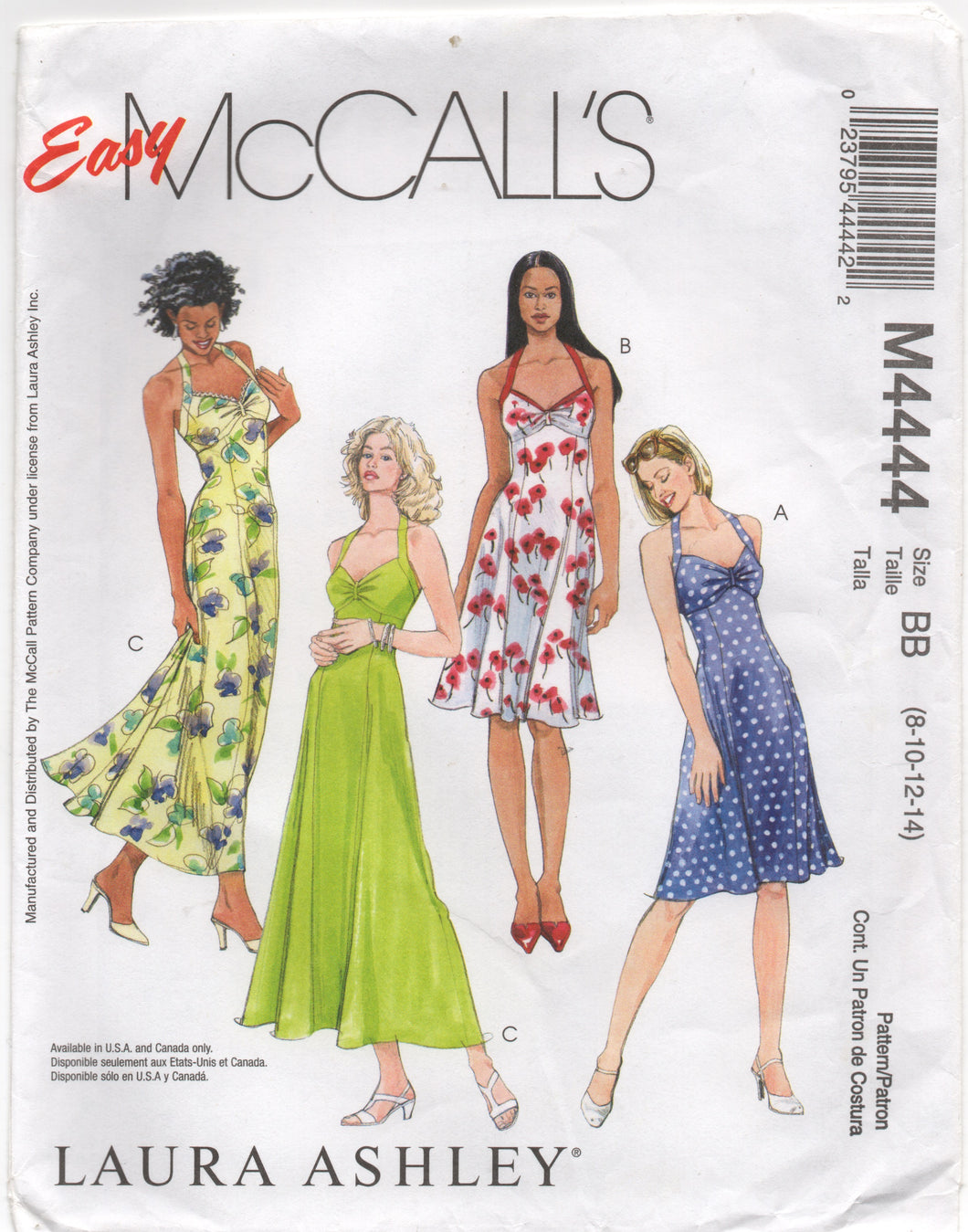 2004 McCall's Laura Ashley Halter Dress in Two lengths - Bust 32.5-33.5-34-36