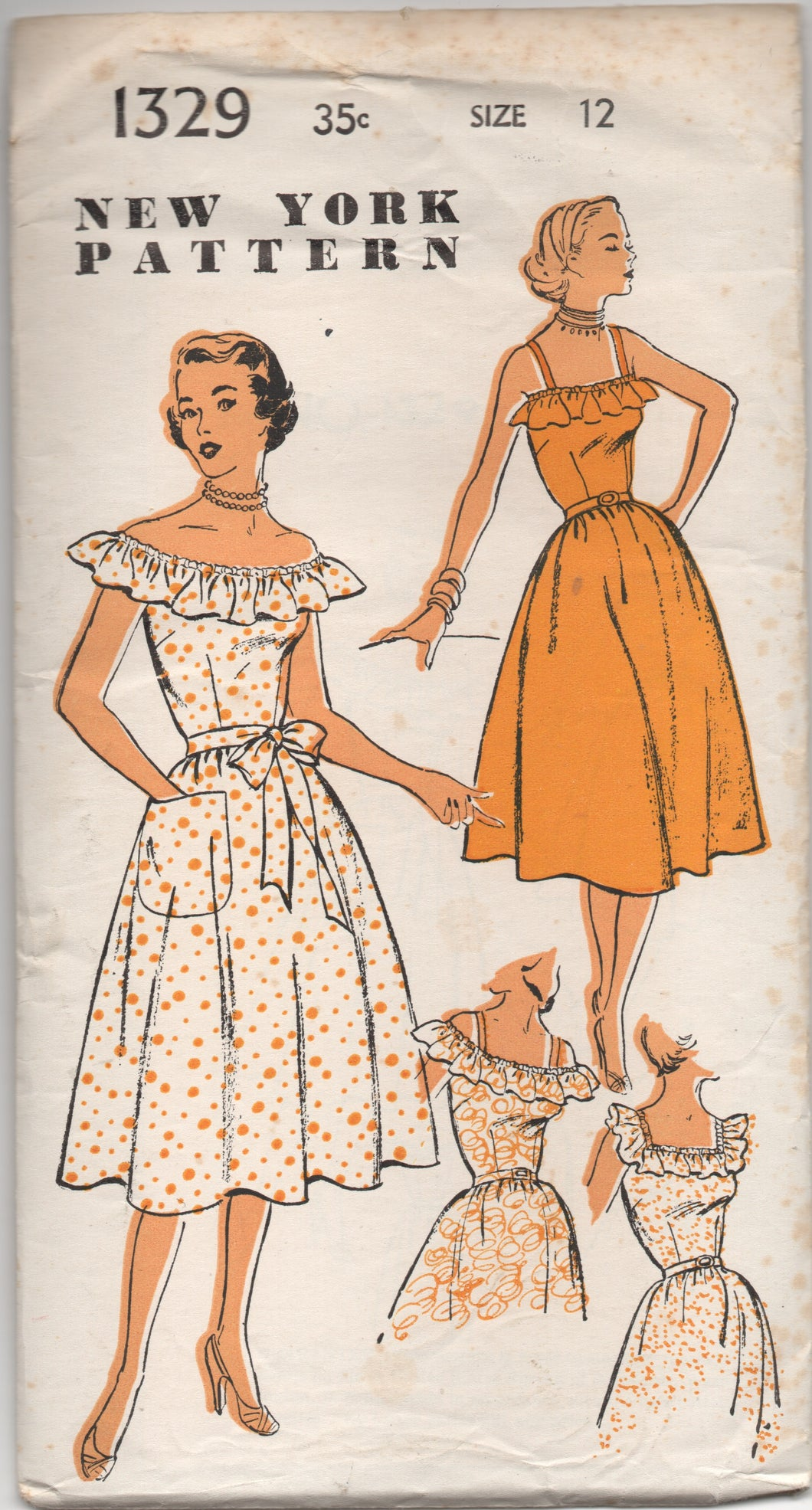 "1950's New York One Piece Dress with Ruffle and Pocket - Bust 30"" - UC/FF - No. 1329"