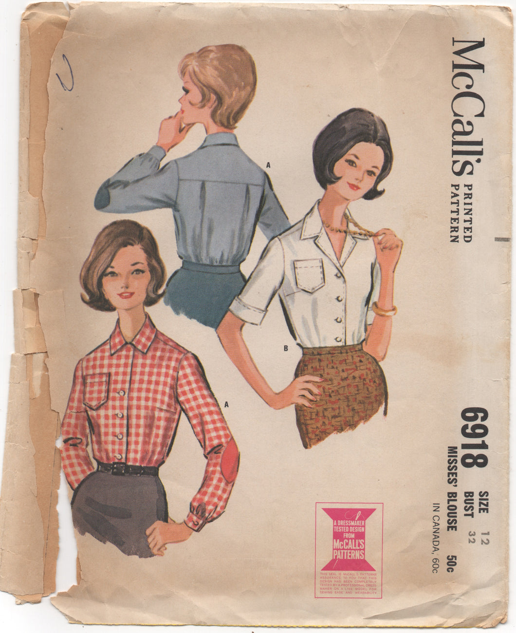 1960's McCall's Button up Shirt with Pocket and Elbow Patches - Bust 32