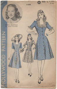 "1940's Hollywood One Piece Button Up Dress with Square neckline - Bust 34"" - UC/FF - No. 1102"