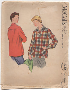 "1950's McCall's Casual Jacket with double pockets - Bust 28.5-30"" - No. 3242"