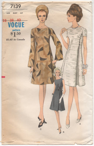 1960's Vogue One Piece Dress with 3 Sleeve Options - Bust 38
