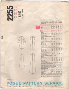 "1960's Vogue Basic Design One Piece Dress with color blocking option - Bust 32.5"" - No. 2255"