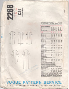 "1960's Vogue Basic Design One Piece Dress in Two Lengths - Bust 38"" - No. 2268"