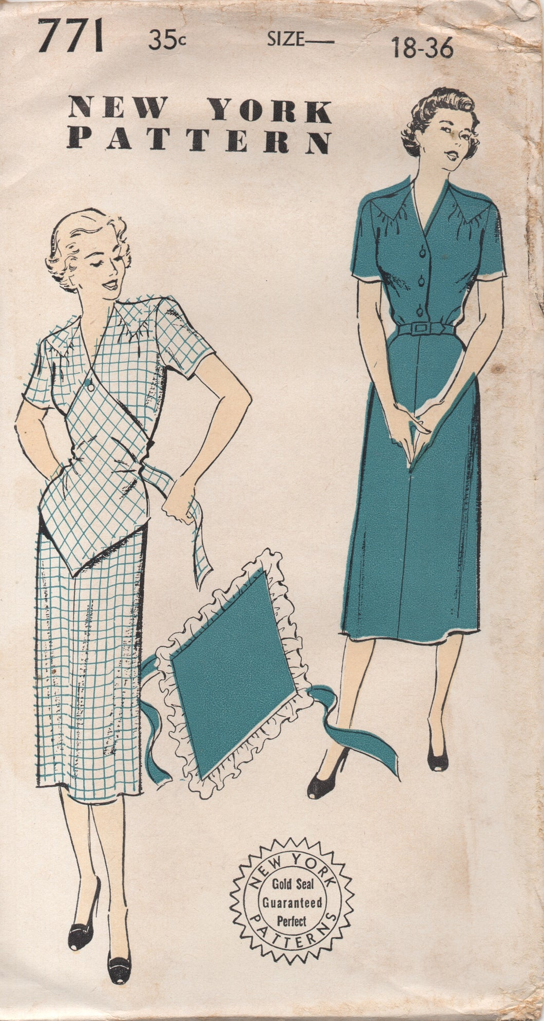 1950's New York Shirtwaist Dress with Triangular Yoke and Attachable Apron - Bust 36