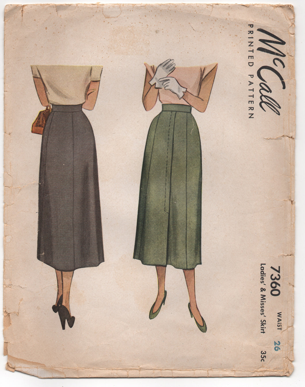 1940's McCall Panel Skirt with Overlap detail - Waist 26
