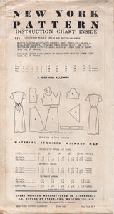 "1950's New York Shirtwaist Dress with Triangular Yoke and Attachable Apron - Bust 36"" - UC/FF - No. 771"