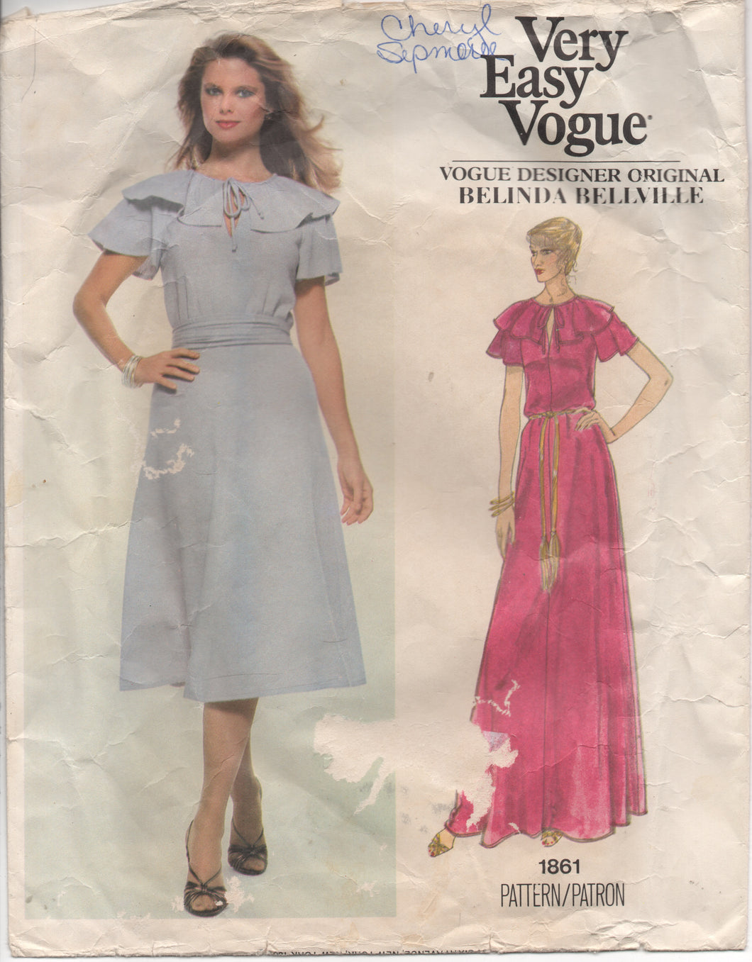 1970's Very Easy Vogue Belinda Bellville Designer One Piece Dress with Ruffle Collar Pattern - Bust 34