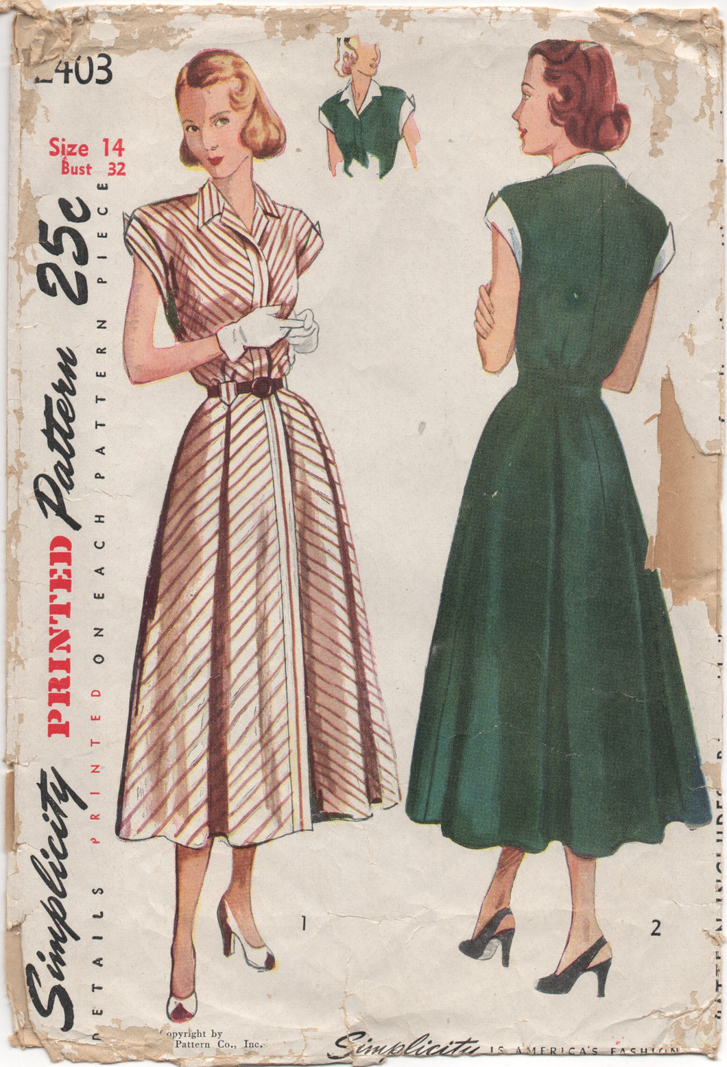 1940's Simplicity One Piece Dress with Tab front - Bust 32