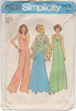 "1970's Simplicity Maxi Dress, Jumpsuit, and Cape - Bust 36"" - No. 6939"