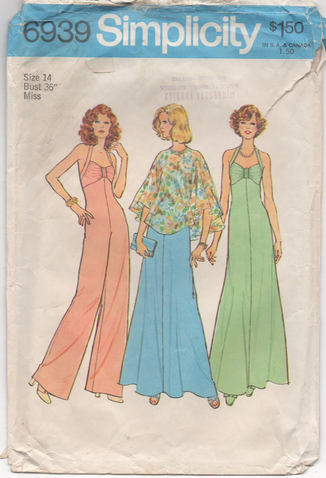 1970's Simplicity Maxi Dress, Jumpsuit, and Cape - Bust 36