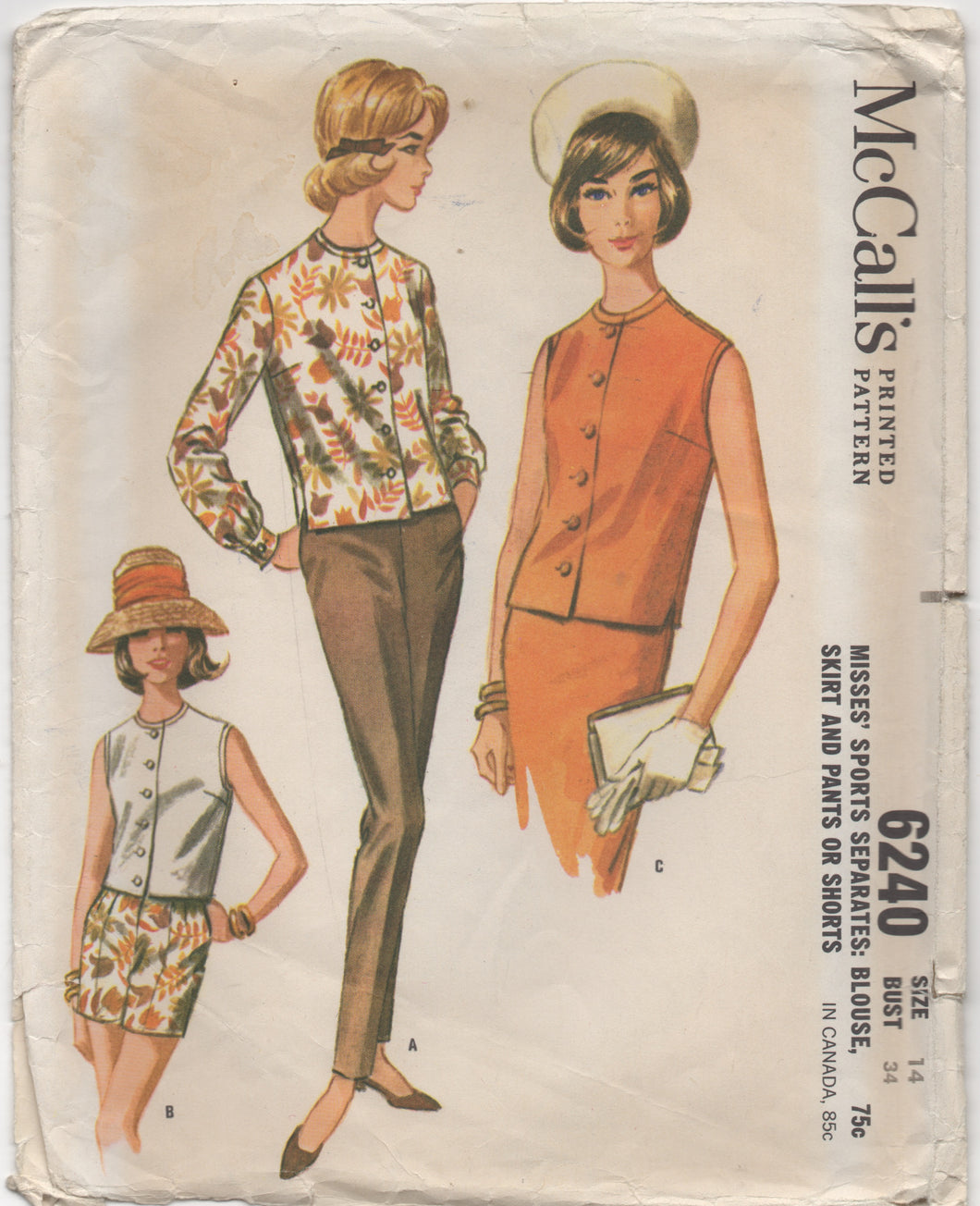 "1960's McCall's Sports Separates, Blouse, Skirt, Pants and Shorts - Bust 34"" - No. 6240"
