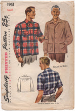 "1940's Simplicity Men's Button Up Shirt with Large Pockets - Chest 34-36"" - No. 1961"