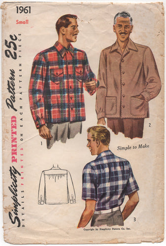 1940's Simplicity Men's Button Up Shirt with Large Pockets - Chest 34-36