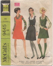 "1960's McCalls One Piece Dress with Scoop Neckline and Blouse with Long Sleeves - Bust 34"" - No. 9445"