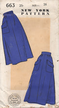 "1940's New York Four Gore Skirt with Angled Pockets - Waist 26"" - UC/FF - No. 663"