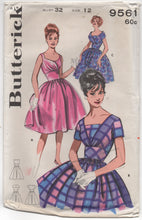 "1960's Butterick Fit and Flare Cocktail Dress with 3 necklines Pattern - Bust 32"" - UC/FF - No. 9561"