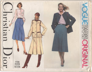 "1970's Vogue Paris Original - DIOR - Blouse, Jacket and Skirt Pattern - Bust 34"" - UC/FF - No. 1735"