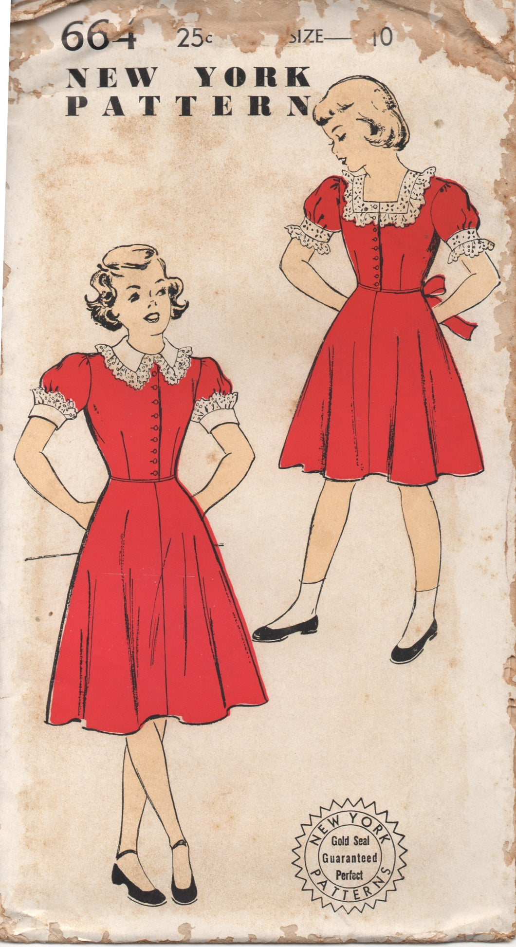 1950's New York Girl's Shirtwaist Dress with Short Sleeves and Two Necklines - Bust 28