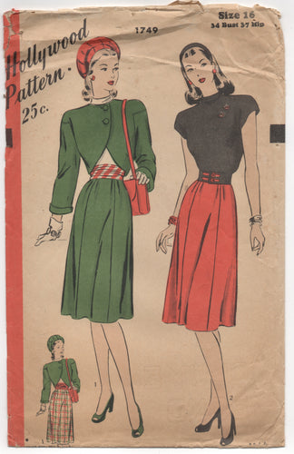 1940's Hollywood Three Piece Outfit, A line skirt, Bolero, Blouse and Belt - Bust 34