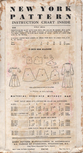 "1950's New York Girl's Shirtwaist Dress with Short Sleeves and Two Necklines - Bust 28"" - No. 664"
